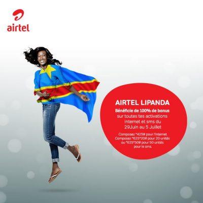 Airtel Lipanda 2015 400x400 AIRTEL LIPANDA : 100% de bonus sur les activations INTERNET et SMS