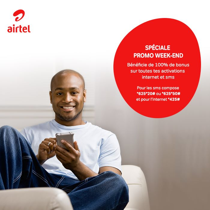 Airtel Promo WeeKend Airtel Promo Weekend : 100% de bonus sur les activations INTERNET et SMS