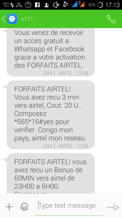 Facebook et WhatsApp gartuit Airtel Promo : Facebook et WhatsApp gratuit pour toute activation d'un forfait Appel