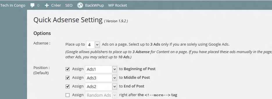 QuickAdsense Comment insérer les annonces Google Adsense sur votre site (Wordpress)