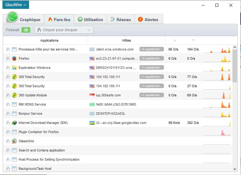 GlassWire pare feu Comment réduire sa consommation internet sur Windows 10/8/7