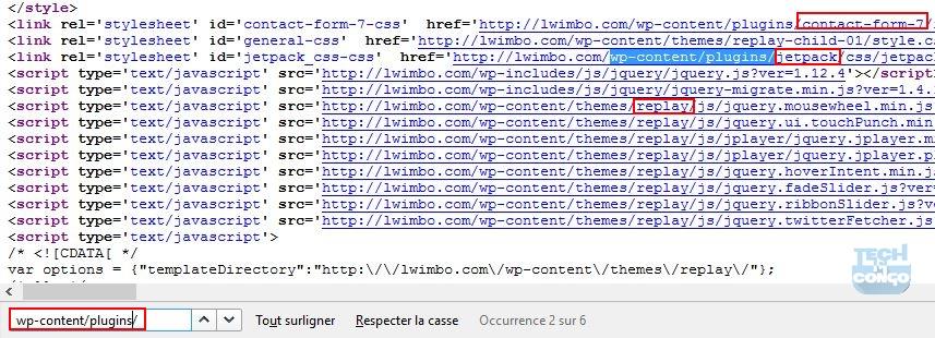 Code source de la page pour trouver les plugins Comment connaitre les plugins et thème d'un site sous WordPress