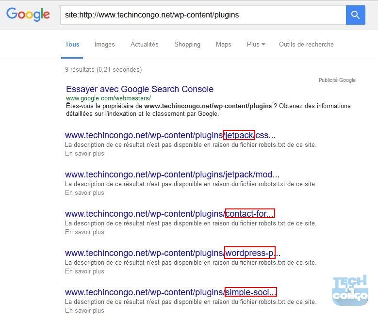 Trouver les Plugins sur un site avec Google