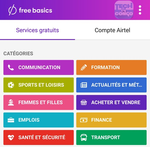 Categories des sites dans FreeBasics Top 80 sites web gratuits avec Free Basics de Facebook