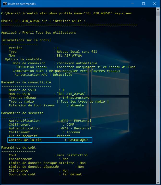 code WiFi Bel air Comment trouver les mots de passe WiFi enregistrés sans logiciel sous Windows