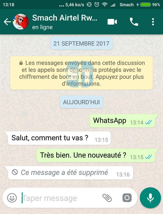 preuve message supprimé Comment supprimer un message WhatsApp envoyé par erreur