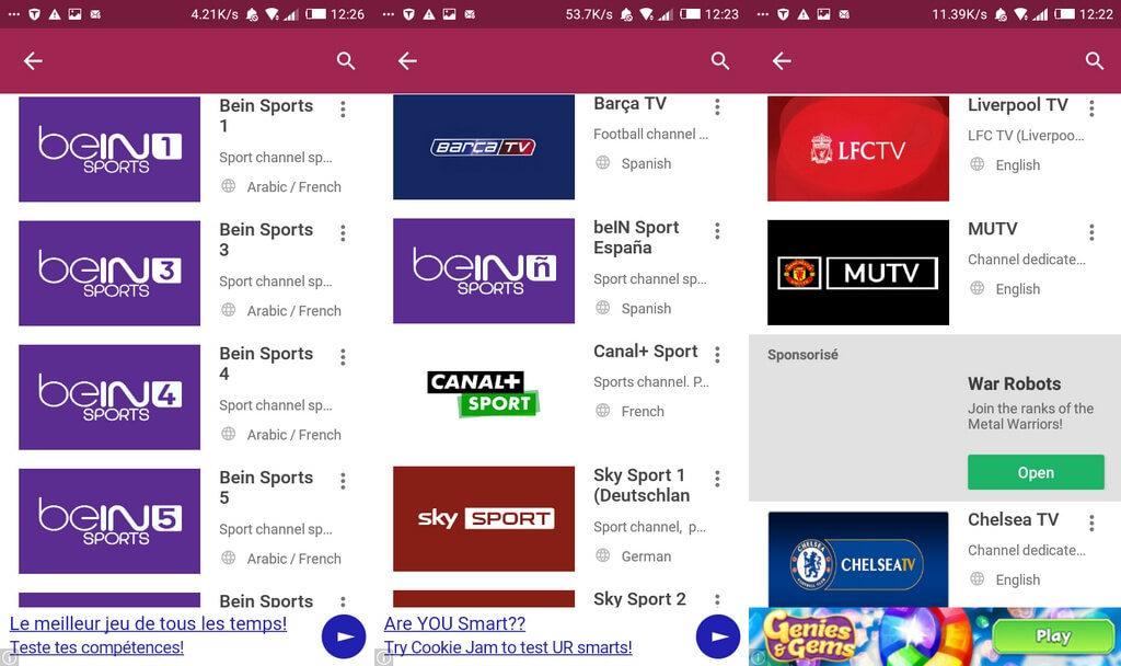 chaines de sport MobDro 1024x608 Les Meilleurs Sites et Applications pour Voir les Match de Football en Direct en Streaming