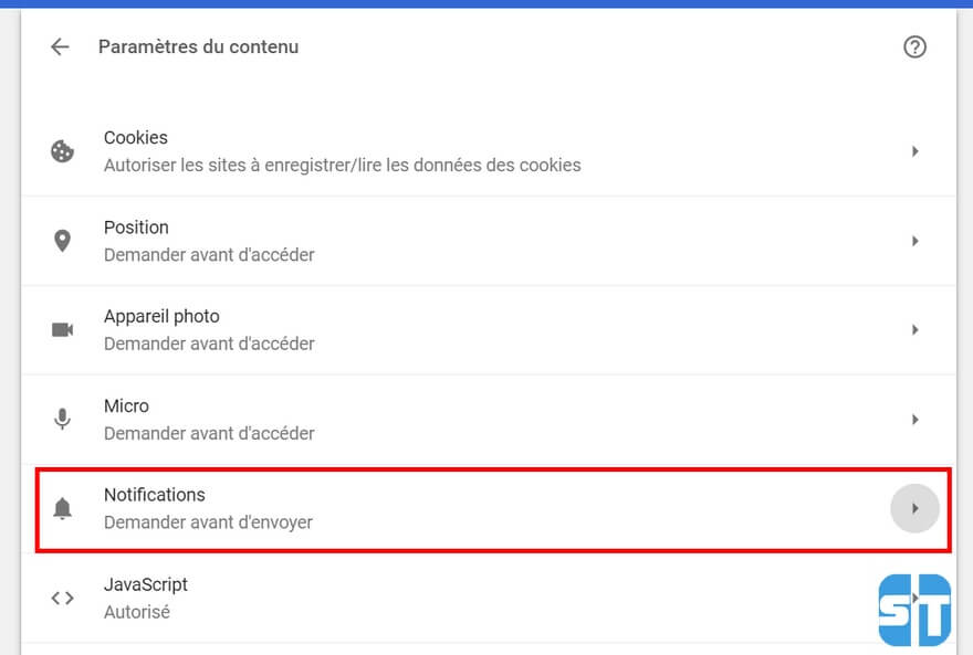 Parametres du contenu Chrome Comment désactiver les notifications push sur Google Chrome, Opera, Firefox sur PC