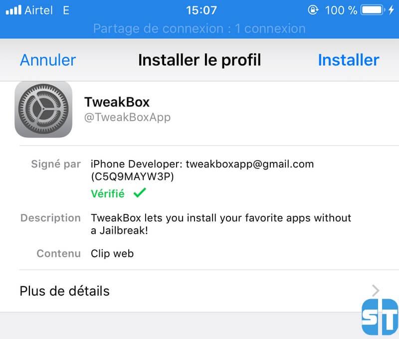 Télécharger et installer TweakBox sans Jailbreak iOS 12 / iOS 11