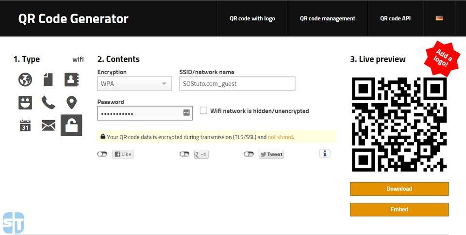 Generateur code QR Comment partager son réseau WiFi avec un Code QR sur Android & iPhone