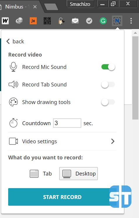Nimbus Start Record Comment enregistrer son écran de bureau avec Google Chrome sur Windows / Mac / Linux