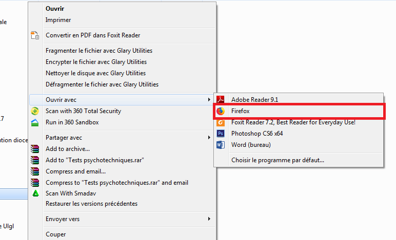 Menu Ouvrir Avec Sous Windows