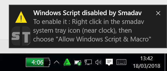 Windows Script Disabled By Smadav Comment activer l'accès à Windows Script Host sur Windows 10/8/7