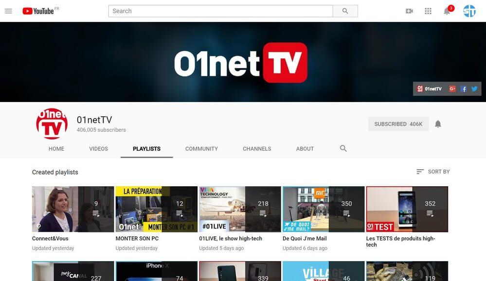 01netTV 10 +10 chaines YouTube pour les Geeks et suivre l'actu Informatique