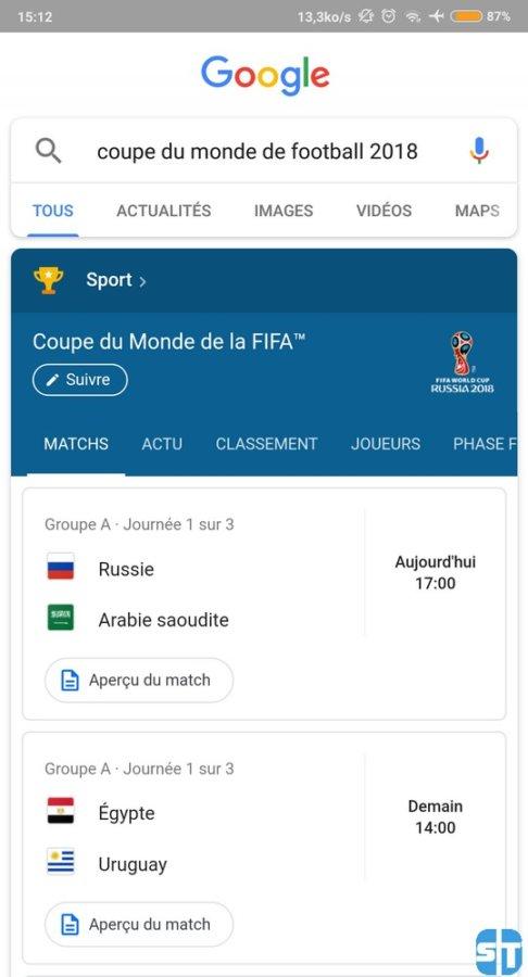 google coupe su monde 2018 486x900 Coupe du Monde 2018 : Voici comment avoir les résultats des match sans application