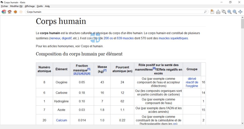 kiwix medecine corps humain 1024x543 Encarta n'est plus – Télécharger Wikipédia 2019 hors ligne