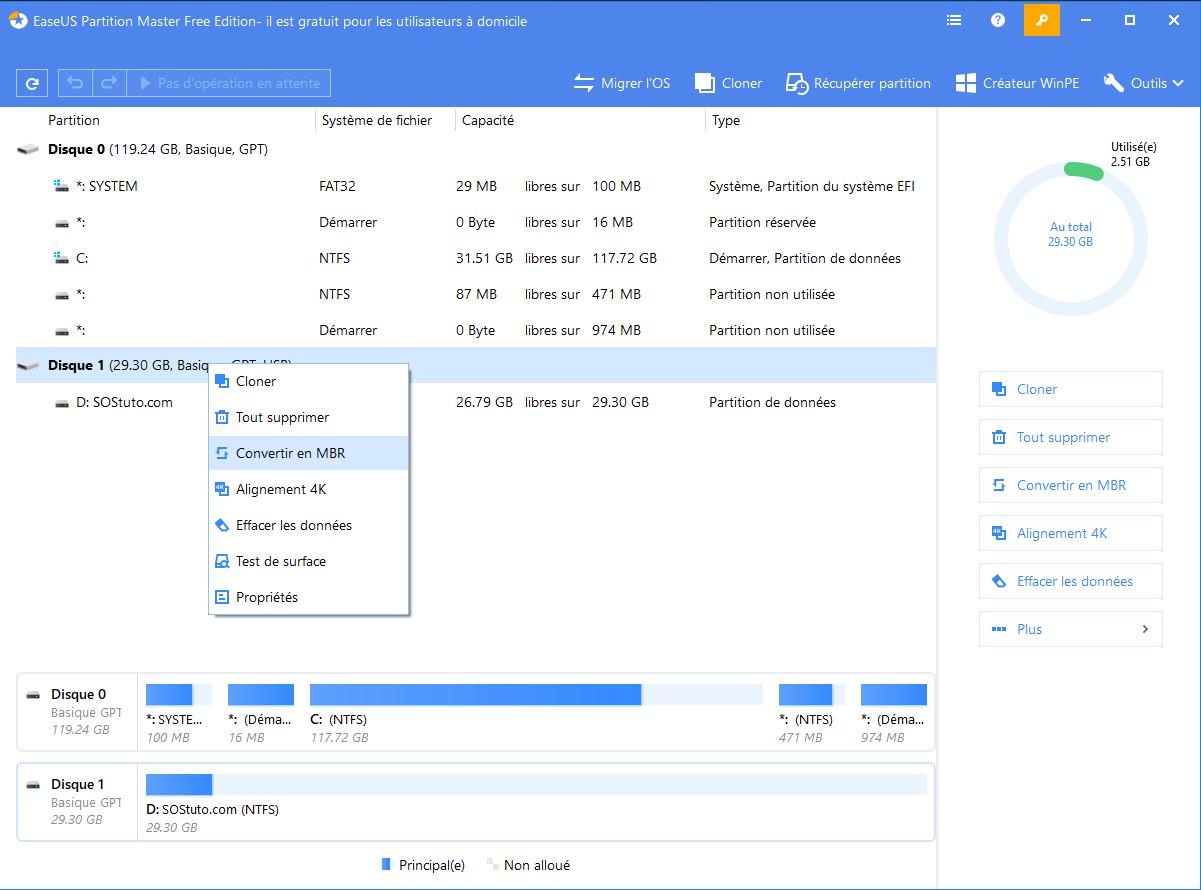 Convertir GPT en MBR Convertir une Table de partition MBR en GPT et vice-versa sur Windows ou sans OS