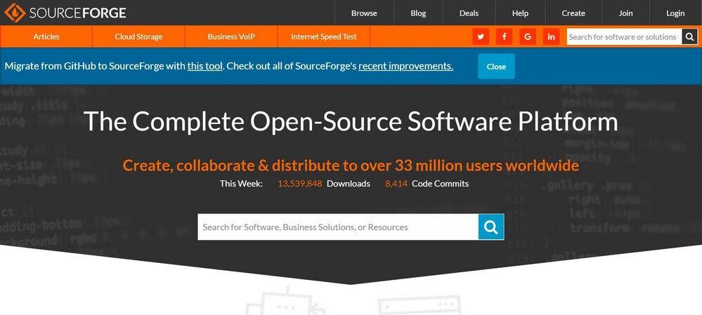 SourceForge Top 10 Sites de Téléchargement de logiciels pour Windows en 2019