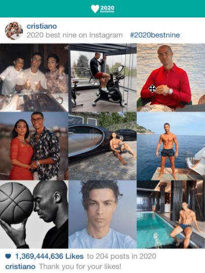 Cristiano 2020 BEST NINE 2021 – Voir Ses Photos Instagram Les Plus Likés de l'Année Passée