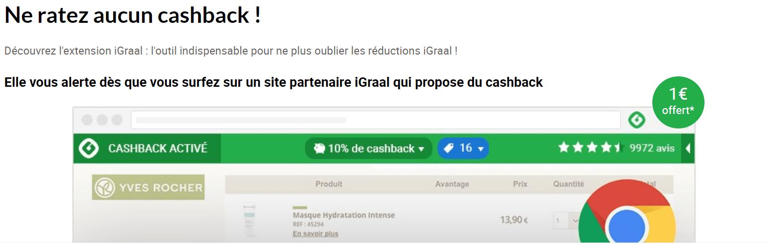 extension igraal iGraal - Gagner de l'argent en achetant avec le cashback sur internet