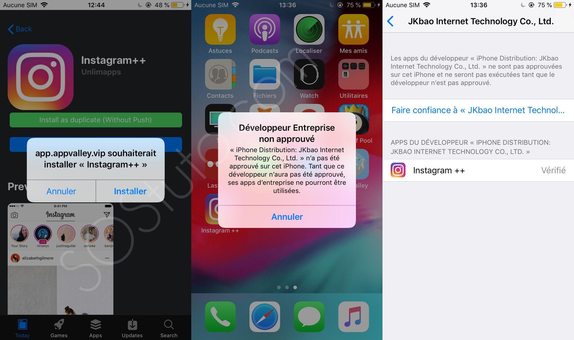 Developpeur ENtreprise non approuvé Télécharger AppValley pour iPhone, iPad, iPod (iOS 2019)