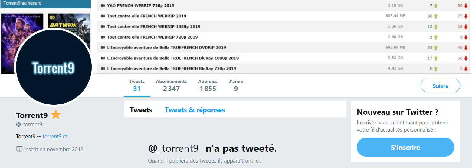 Twitter Forum Torrent9 Nouvelle Adresse Torrent9 – 8 Meilleurs Sites Miroirs & Clones de Torrent9