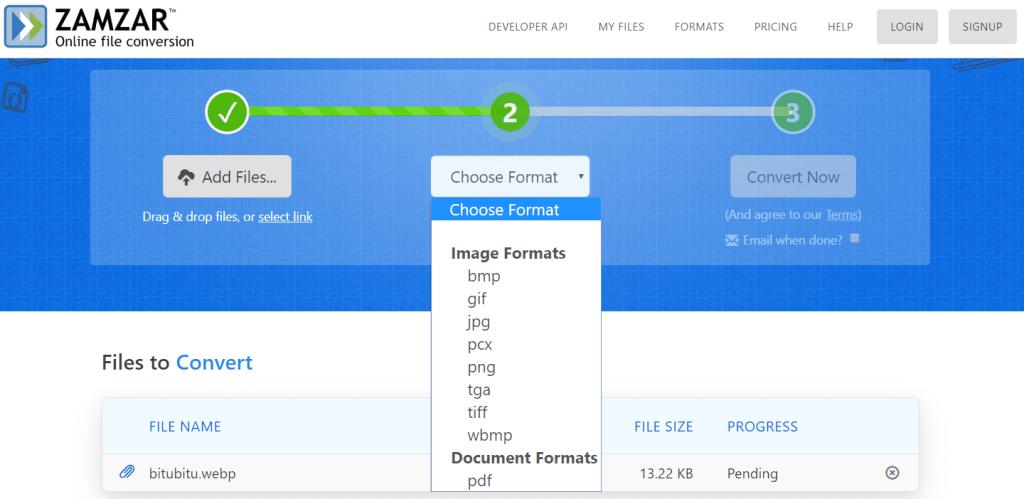 ZamZar Convertir WebP en PNG en ligne 1024x499 5 Façons de Convertir une Image au format WebP en JPG ou PNG