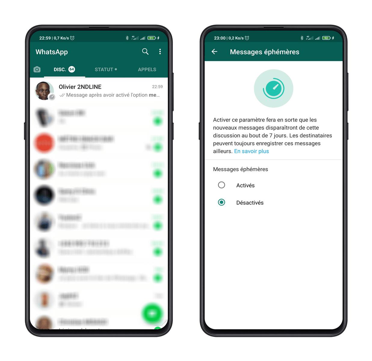 Pour desactiver messages ephemeres Messages Ephémères WhatsApp: Comment Les Activer et Les Envoyer