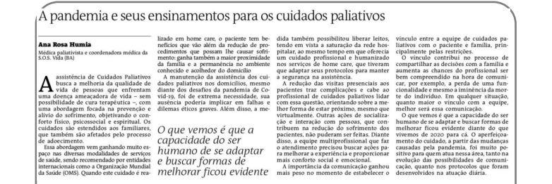 Artigo sobre Cuidados Paliativos e Pandemia no jornal A Tarde