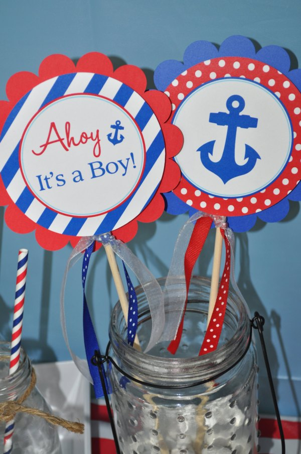 Ahoy Boy Baby Shower Centerpiece Nautical Year Of Clean Water