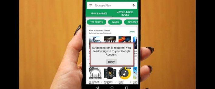 Google Play Kimlik Doğrulama, Google Play kimlik doğrulaması Hatası