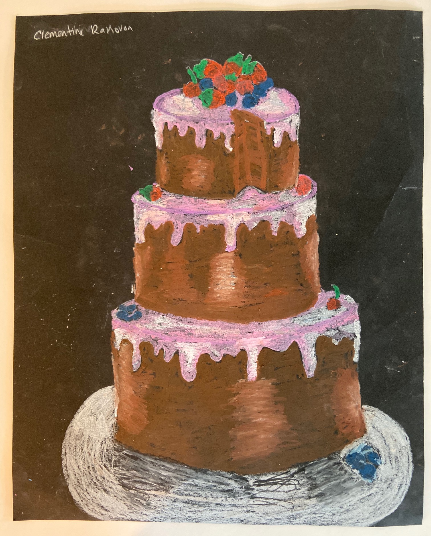 New Project Oil Pastel Cake Drawings