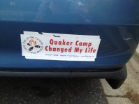 Bumper sticker on the back of a car
