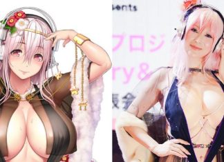 """49 Years Old Japanese Celebrity """"Mika Kano"""" Cosplays As """"Super Sonico"""" For An Event"""