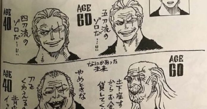 Oda has just revealed how Zoro would look at 40 and 60 years old!