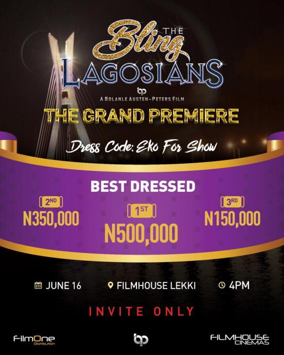 one million Naira up for grabs at the bling lagosians movie premiere