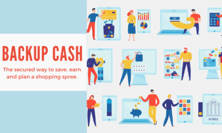 illustration of people using different savings options with the words, Backup Cash, a secured way to save, earn and plan a shopping spree