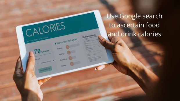 get food and drink calories using Google search