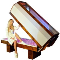 woman getting in salt bed