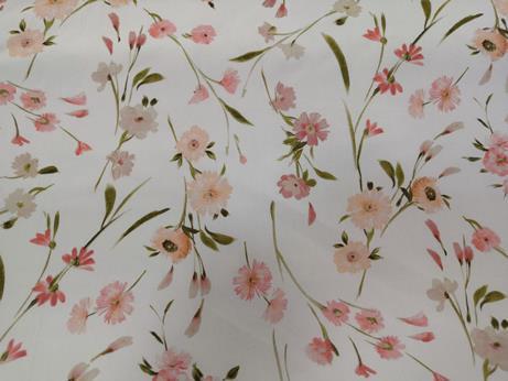 Rózsaszín virágos pamut vászon