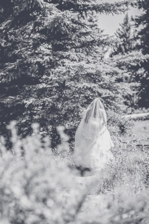 Bramblett Wedding bride in black and white
