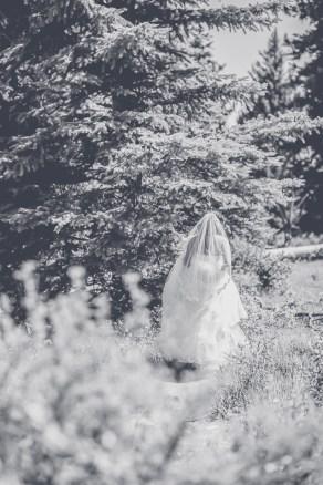 Bramblett Wedding bride in black and white