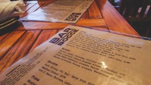 Bar Bocce in Sausalito Menu