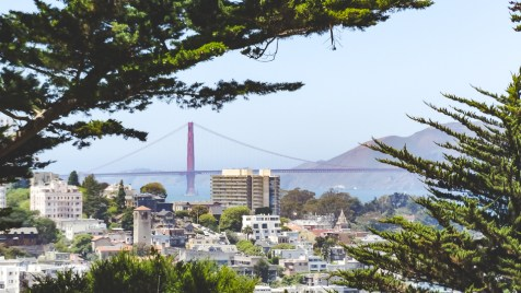 Panorama of North Beach and the Golden Gate Bridge