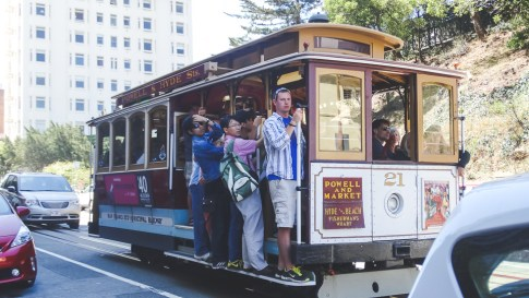Cable Car traffic jam, mixed with tourists, on top of Russian Hill