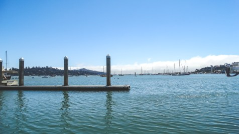 Sausalito Clipper Yacht Harbor looking out toward the fog in San Francisco Bay
