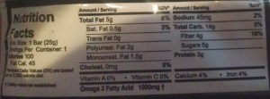 Health Warrior Chia Bar nutrition facts label