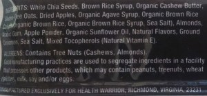 Health Warrior chia bar ingredients