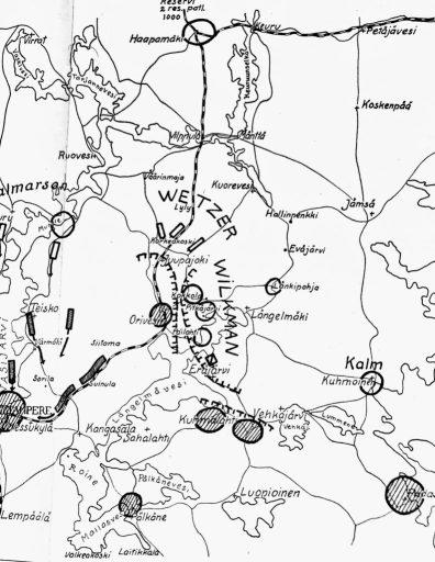 Tilanne kartalla 19.3.1918 Längelmäen valtauksen jälkeen. Sodan käänne oli tapahtunut valkoisten edetessä kohti Orivettä.