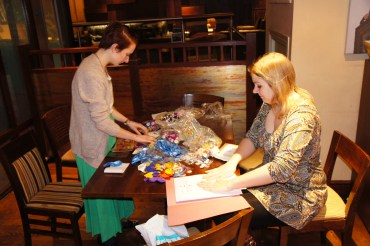Emma and Cat make up the Party Bags!